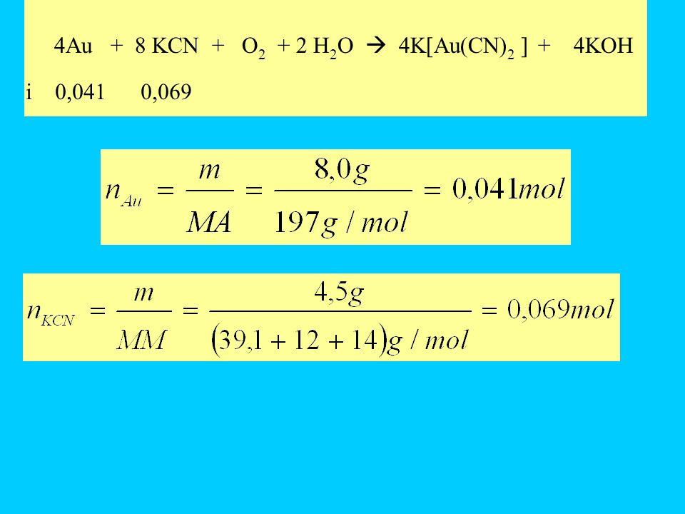 4Au + 8 KCN + O2 + 2 H2O  4K[Au(CN)2 ] + 4KOH